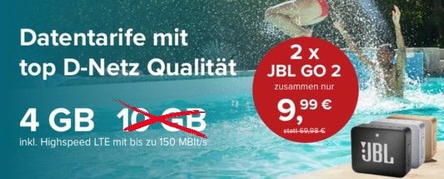 mobilcom-debitel Internet-Flat 4.000 (Telekom-Netz) + 2x JBL Go 2 bei Tarifhaus