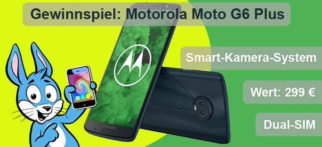 Handyhase Gewinnspiel: Beantworte eine Frage & gewinne im September 2018 ein brandneues Motorola Moto G6 Plus im Wert von 299 € (UVP)!