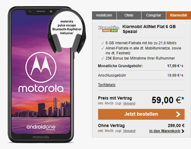 Motorola One + klarmobil Allnet-Flat
