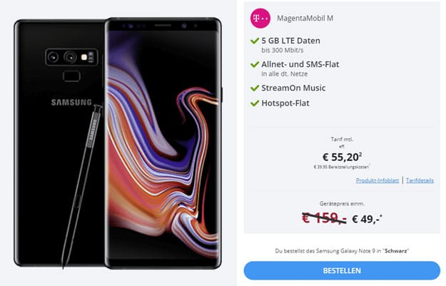Samsung Galaxy Note 9 + Telekom Magenta Mobil M / M Young