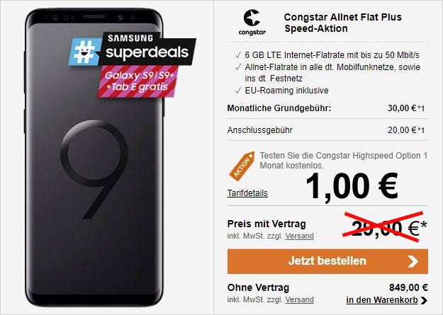 Tiefstpreis! Galaxy S9 + congstar Allnet Flat Plus