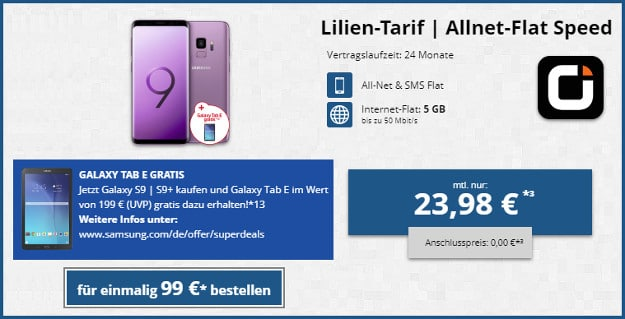 Samsung Galaxy S9 + Tab E + otelo Lilien Tarif Speed