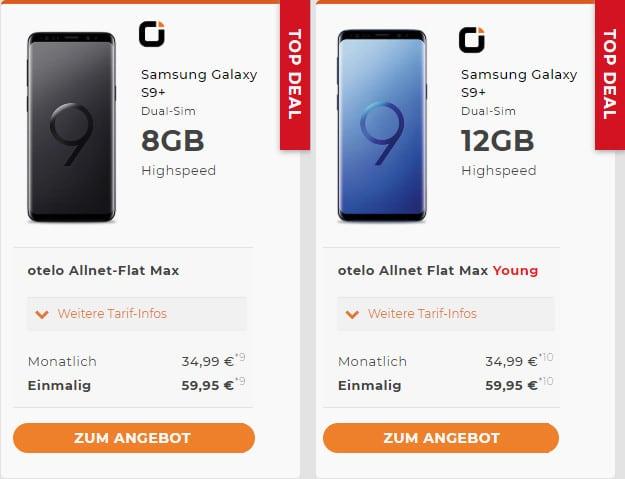 Samsung Galaxy S9 Plus + otelo Allnet-Flat Max Speed
