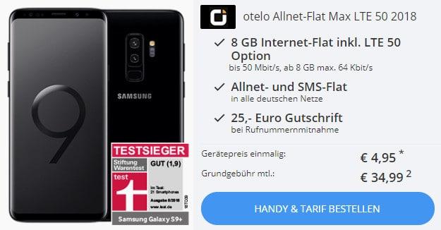 Galaxy S9 / S9 Plus für 4,95 € + otelo Allnet-Flat Max LTE 50