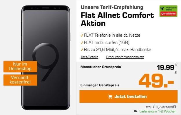 Samsung Galaxy S9 Plus + Vodafone Flat Allnet Comfort (mobilcom-debitel) bei Saturn