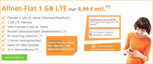 Top! SimDiscount LTE Tarife ab 6,99 € Grundgebühr (Allnet-Flat, bis 10 GB LTE, o2) SIM only - auch mtl. kündbar
