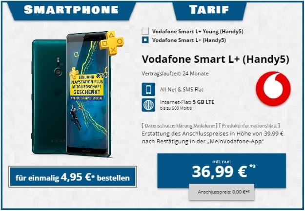Sony Xperia XZ3 + Vodafone Smart L Plus bei Tophandy