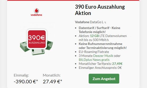 Vodafone DataGo L mit 390 € Cashback bei Preisboerse24