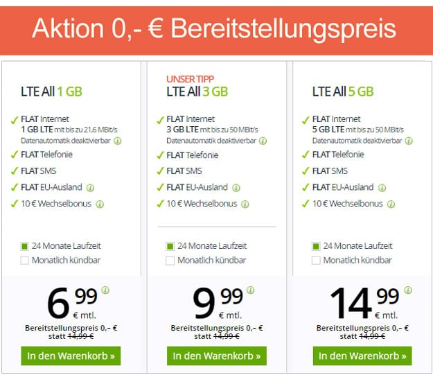 winSIM LTE All - mtl. kündbare LTE Allnet-Flat ab 6,99 € mtl. (Allnet- & SMS-Flat, bis 10 GB LTE, o2) - teilweise ohne Anschlussgebühr!