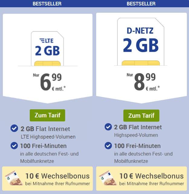 1&1 GMX.de All-Net für 6,99 € im Monat (100 Frei-Minuten, 2 GB LTE, o2)
