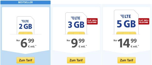1&1 WEB.de All-Net Flat ab 6,99 € mtl. (100 Frei-Einheiten / Allnet-Flat, bis 5 GB LTE, o2- od. Vodafone-Netz)