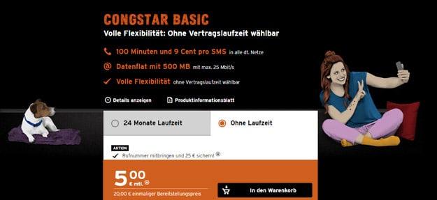 congstar Basic für 5 € Grundgebühr (100 min, 500 MB im besten Telekom-Netz) + mtl. kündbar + 25 € Wechsel-Bonus!