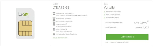 Top! winSIM LTE All ab 6,99 € mtl. (Allnet- & SMS-Flat, bis 10 GB LTE, o2) - 3 GB LTE für 7,99 € mtl - auch mtl. kündbar