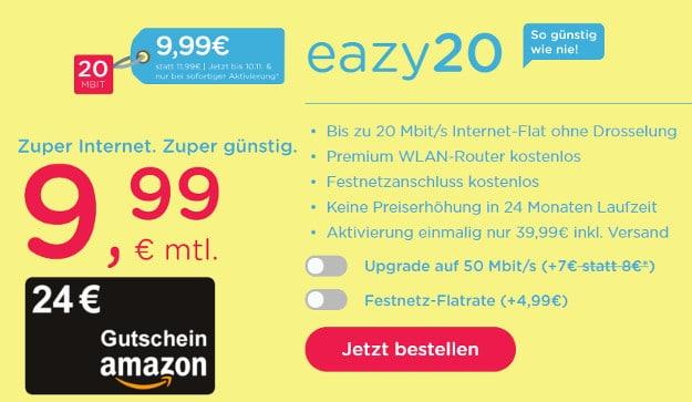 unitymedia eazy Kabel-Flat ab 9,99 € im Monat (Internet-Flat mit bis zu 50 Mbit/s)