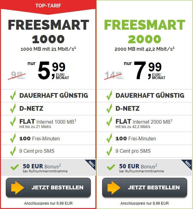 freesmart 1000 und 2000 mit 50 € Wechsel-Bonus