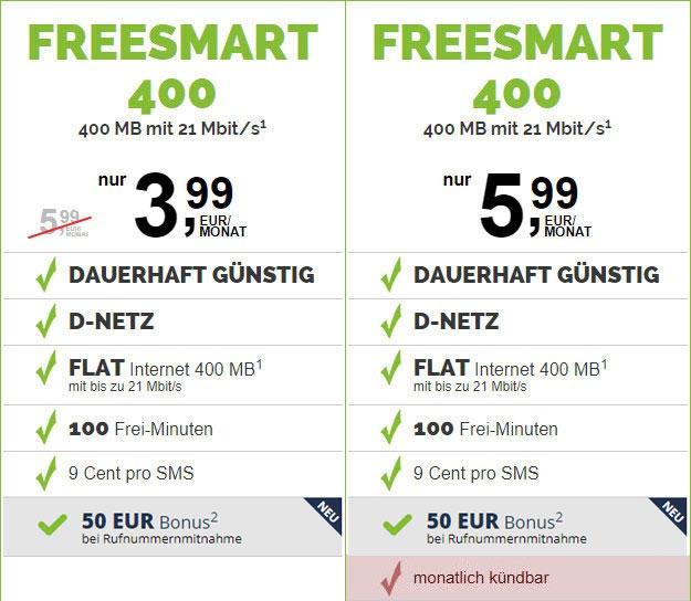 freesmart 400 Telekom-Netz mit 50 € Wechsel-Bonus