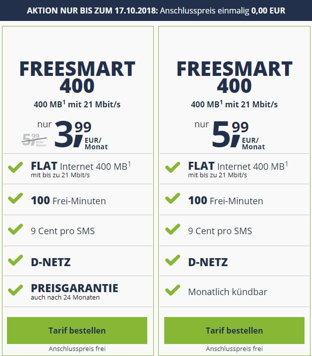 freeSMART 400 ab 3,99 € mtl. (100 min, 400 MB, bestes Telekom-Netz) - mtl. kündbar - ohne Anschlussgebühr!