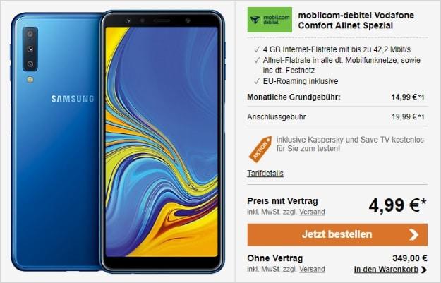 Samsung Galaxy A7 (2018) + Vodafone Comfort Allnet (mobilcom-debitel) bei LogiTel