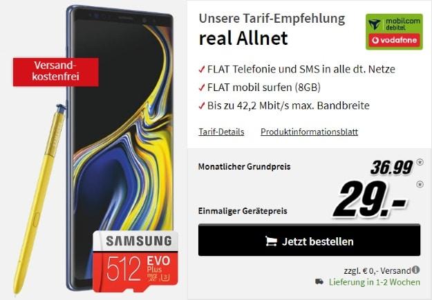 Samsung Galaxy Note 9 + Samsung EVO Plus 512GB microSD + Vodafone real Allnet (mobilcom-debitel) bei MediaMarkt
