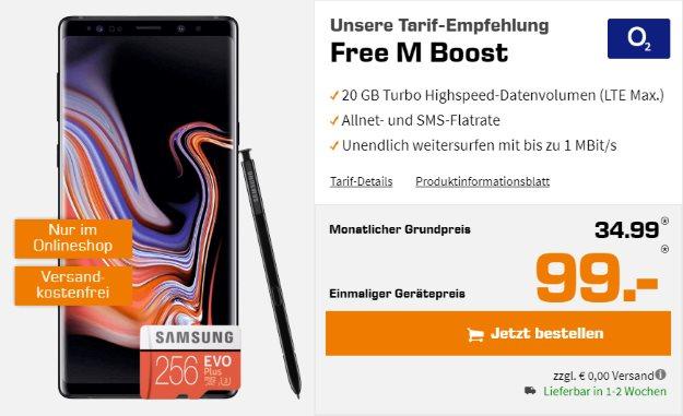 Samsung Galaxy Note 9 + Samsung EVO Plus microSD 256GB + o2 Free M Boost bei Saturn