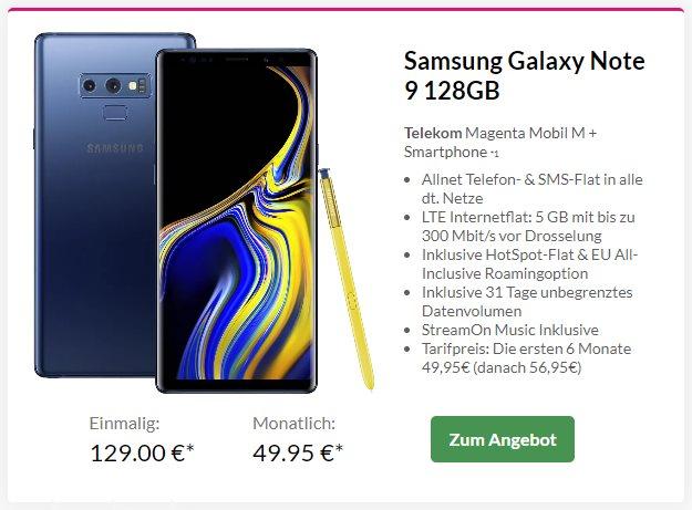 Samsung Galaxy Note 9 + Telekom Magenta Mobil M bei Preisboerse24