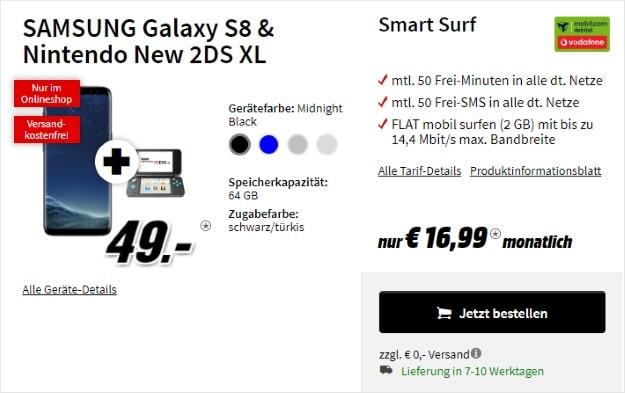 Samsung Galaxy S8 + Nintendo New 2DS XL + Vodafone Smart Surf (mobilcom-debitel) bei MediaMarkt