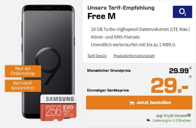Samsung Galaxy S9 + Samsung EVO Plus 256GB microSD + o2 Free M bei Saturn