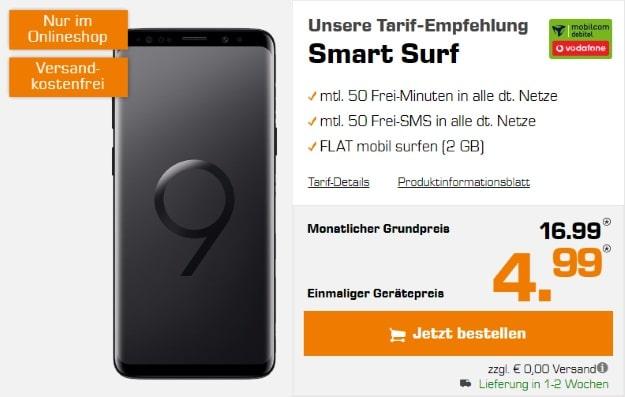 Samsung Galaxy S9 (B-Ware) + Vodafone Smart Surf (mobilcom-debitel) bei Saturn