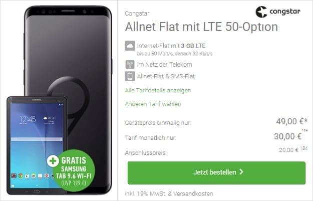 Samsung Galaxy S9 + Samsung Galaxy Tab E 9.6 WiFi + congstar Allnet-Flat bei DeinHandy
