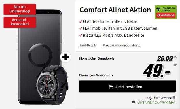 Samsung Galaxy S9 Plus + Samsung Gear S3 Frontier + Vodafone Comfort Allnet (mobilcom-debitel) bei MediaMarkt