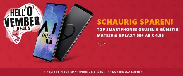 Huawei Mate 20 + Vodafone Smart L Plus bei Sparhandy