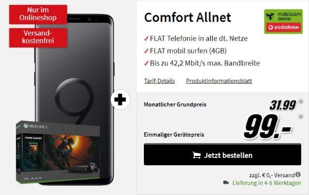 Samsung Galaxy S9 + Microsoft Xbox Oone X (1TB) Tomb-Raider-Bundle + Vodaofne Comfort Allnet (mobilcom-debitel) bei MediaMarkt