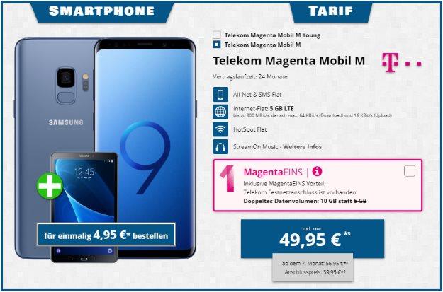 Samsung Galaxy S9 + Samsung Galaxy Tab S2 9.7 WiFi + Telekom Magenta Mobil M bei Tophandy