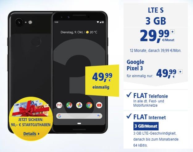 Google Pixel 3 + 1&1 All-Net LTE S