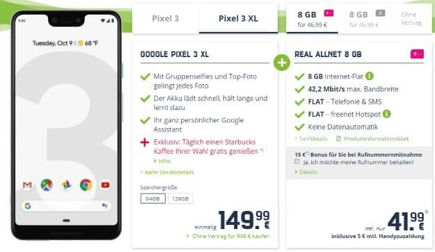 Google Pixel 3 XL 64GB + mobilcom-debitel real Allnet (Telekom-Netz) bei mobilcom-debitel
