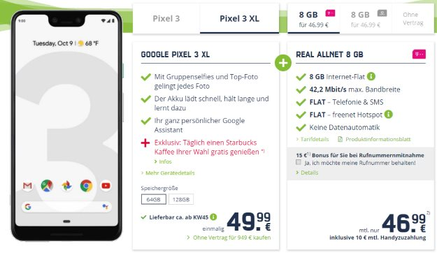 Google Pixel 3 XL + mobilcom-debitel real Allnet (Telekom-Netz) bei mobilcom-debitel