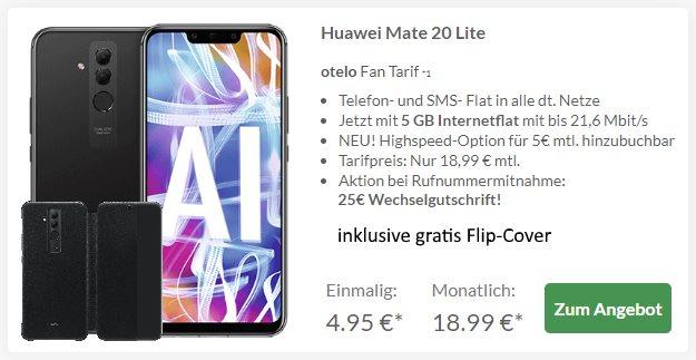 Huawei Mate 20 lite + Huawei Flip Cover + otelo Fan-Tarif bei Preisboerse24