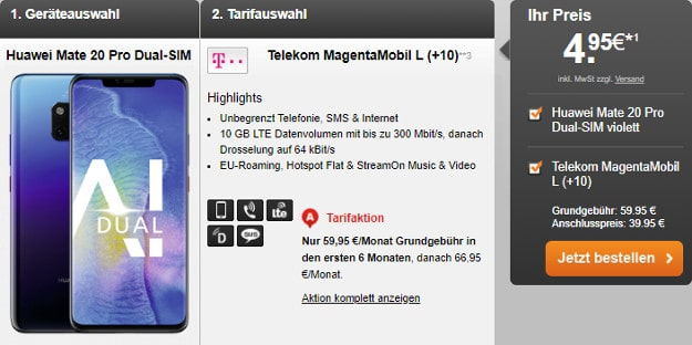 Huawei Mate 20 Pro + Telekom Magenta Mobil L und L Young