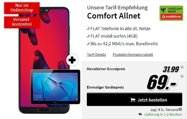 Huawei P20 Pro + Huawei MediaPad + Vodafone Comfort Allnet (mobilcom-debitel) bei MediaMarkt