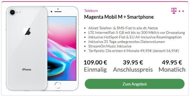 Apple iPhone 8 256GB + Telekom Magenta Mobil M bei Preisboerse24