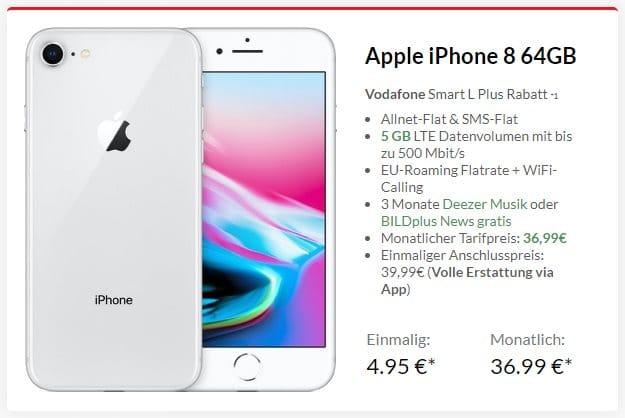 Apple iPhone 8 64GB + Vodafone Smart L Plus bei Preisboerse24