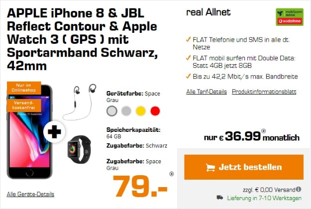 Apple iPhone 8 + Apple Watch Series 3 GPS + JBL Contour + mobilcom-debitel real Allnet (Vodafone) bei Saturn