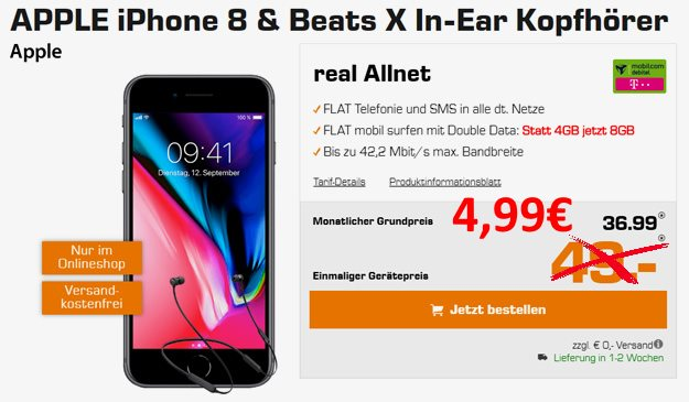 Apple iPhone 8 64GB + Beats X by Dr. Dre + mobilcom-debitel real Allnet (Telekom-Netz) bei Saturn