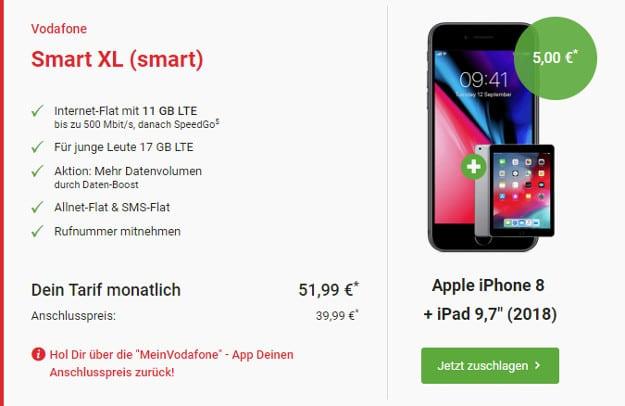 iphone 8 + ipad + vodafone smart xl