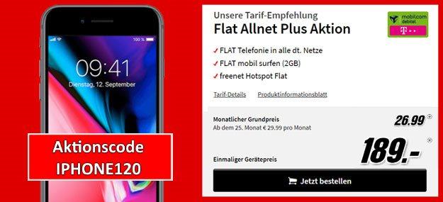 iPhone 8 64GB + mobilcom-debitel Flat Allnet Plus (Telekom-Netz) ab effektiv 6,11 € im Monat (Allnet-Flat, 2 GB, Telekom-Netz)