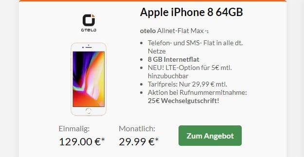 iphone 8 + otelo allnet flat max 8 gb