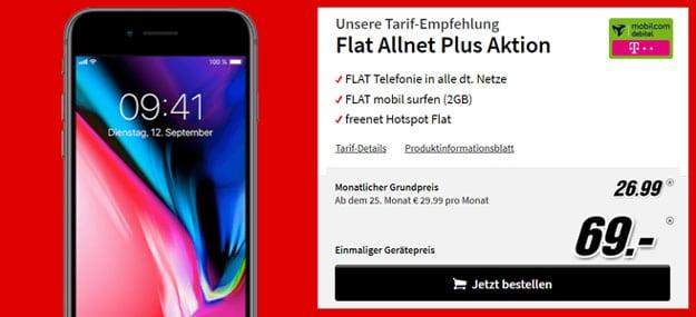 iPhone 8 64GB + mobilcom-debitel Telekom Comfort Allnet ab effektiv 6,11 € im Monat (Allnet-Flat, bis 4 GB, Telekom-Netz)