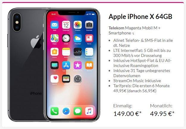 Apple iPhone X 64GB + Telekom Magenta Mobil M bei Preisboerse24
