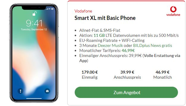 Apple iPhone X + Vodafone Smart XL bei Preisboerse24