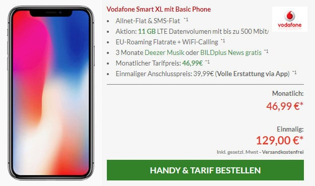 Apple iPhone X mit Vodafone Smart XL 11 GB LTE